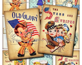 4th of July Patriotic Kids, Instant Download, Printable Digital Collage Sheet, Retro Vintage Independance Day, atc aceo
