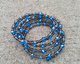 Blue On Brown Beaded Bracelet