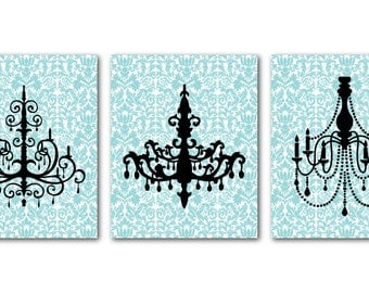 Modern Chandelier Silhouette Wall Art Trio on Damask - Dining Room Kitchen Wall Art - Bedroom Art - Aqua gray green yellow damask