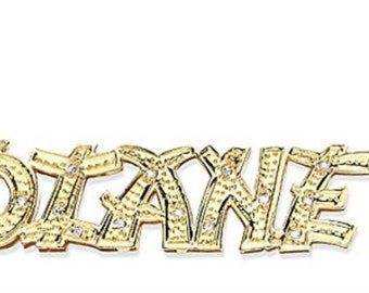Personalized All Diamond Chinese Lettering Nameplate Necklace 14K Yellow Gold or White Gold with Chain