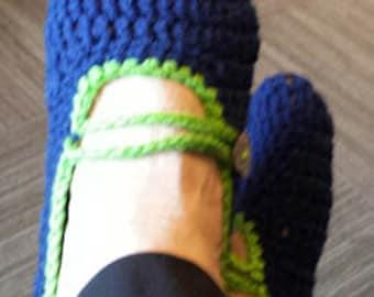 Crochet ballet flat style slippers