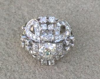 Magnificent Antique Art Deco Era Platinum Diamond Cocktail Ring 3.70 tdw