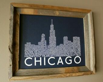 Chicago Skyline Word Art Print (Dark Blue) - Unframed
