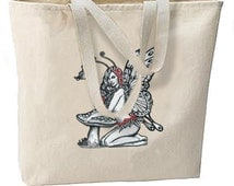 Mushroom Butterfly Fairy Faerie New Oversize Tote Bag Travel Gifts