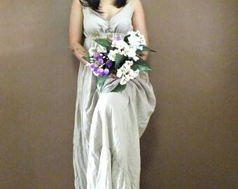 Sexy.....Cream Maxi Beautiful  cotton Dress/Summer Dress/Party Dress