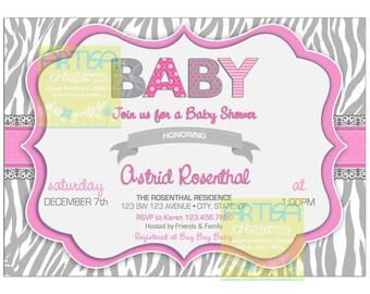 Zebra Print Baby Shower, Zebra print grey and pink baby shower invitation, pink and grey zebra print baby shower invite, Zebra baby shower
