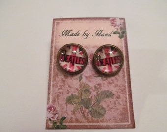 The British Are Coming - Beatles Inspired  Bezel Stud Earrings - handmade