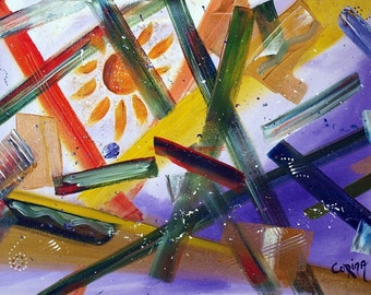 Original signed Irish Acrylic Abstract Painting by Corina Hogan - Breaking Through - OOAK