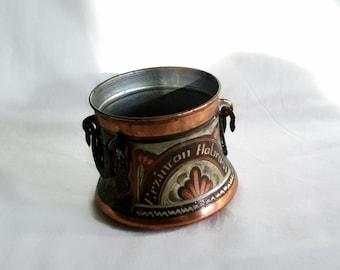 Cauldron vintage copper etched mini pot, brass handled rustic kitchen jar. ERZINCAN SOUVENIR. Wiccan altar decor, Floral folk art Etching