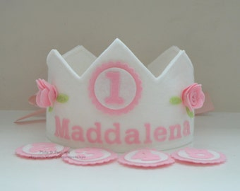Birthday Crown With Interchangeable Numbers, Girl Birthday, Felt, Roses