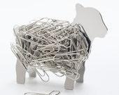 Lamb Design Desk Top Stainless Steel Magnet Paper Clip Holder