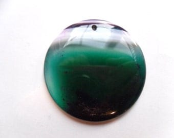 Purple and Teal Striped Round Onyx Agate Pendant 48x6mm   -B1C3-4