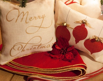 Red Christmas Tree Skirt | Burlap Christmas Tree Skirt | Gold Christmas Tree Skirt | Fully Lined | Rustic | Glam