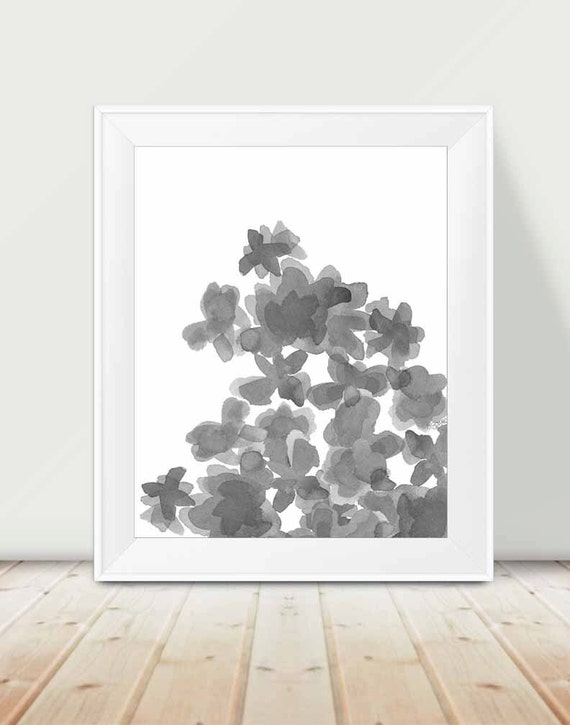 Black and White Floral Print, 11x14 Art Print