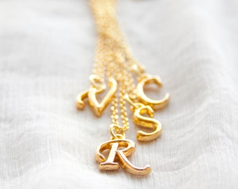 Gold Cursive Initial Necklace, Gold Personalized Charm Necklace, Initial Charm Necklace, Gold Letter Charm Pendant with 18 inch Chain