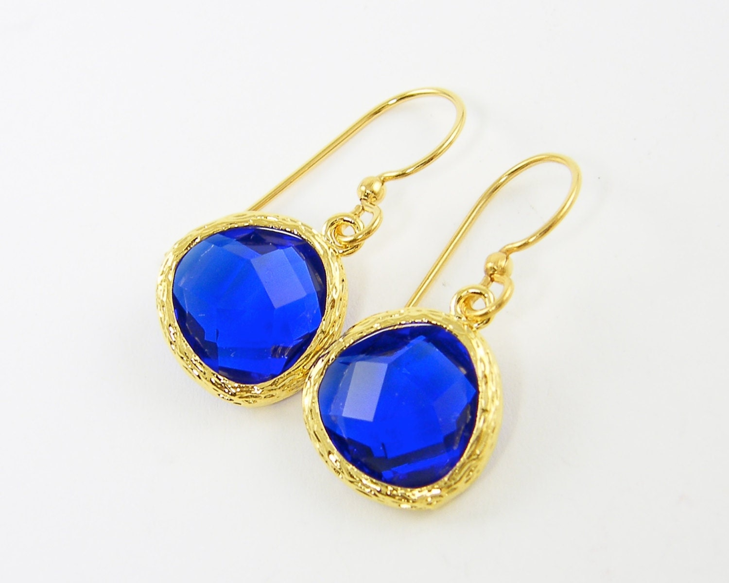 cobalt blue and gold earrings royal blue by