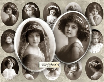 Antique Photography - oval image - 30 x 40 mm or 18 x 25 mm - digital collage sheet  - Printable Download