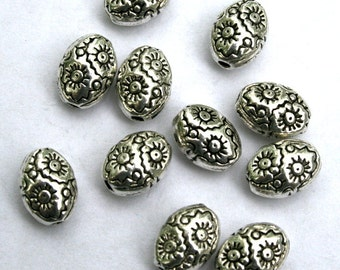 8.6 mm Antique Silver Oval Spacer Beads