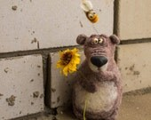 Little Brown Bear. Great gift under 50. Needle Felted Toy. * Bear is made from natural wool.