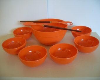 Vintage LUTHJE WOOD Danish Salad Set in Orange
