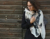 Warm felted shawl in gray white and black - Hand dyed Wool silk scarf - Cozy winter wrap