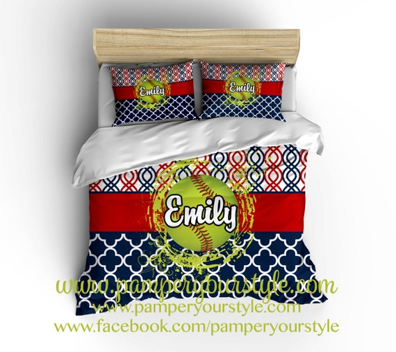 Softball Bedroom   Softball Personalized Bedding   Design my Own Softball  Bedding   Navy and Red Softball bedroom decor. Softball Bedroom Softball Personalized Bedding Design my