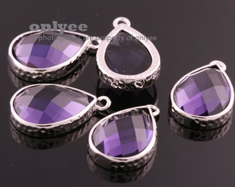 2pcs-18mmX11mmBright Rhodium Faceted tear drop glass with hammered bezel pendants-Amethyst(M365S-H)