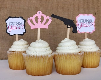 12 GUNS OR GLITTER - Gender reveal baby shower Cupcake Toppers (12 toppers)