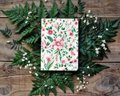 Notebook with flower  watercolor illustration