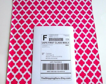 50 12x15 Hot Pink Quatrefoil Poly Mailer Envelopes with Self Adhesive Seal