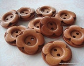 20mm Wood Buttons Carved Flower Buttons Pack of 12 Brown Wood Buttons W2013