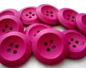 25mm Wood Buttons Magenta Pack of 10 Plain Dark Pink Buttons W2525B