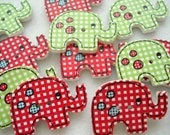 Elephant Shape Wood Button Red and Green Pack of 8 Elephant Buttons WW3031c