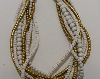 Vintage Multistrand Gold and White Painted Wood Necklace