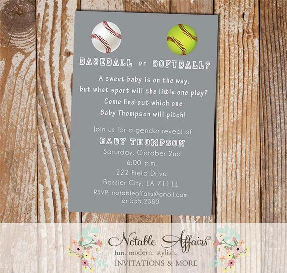 Baseball or softball baby shower gender reveal party like this item stopboris Images