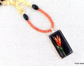 Bird of Paradise Flower - painted pendant - beaded necklace PLUS earrings