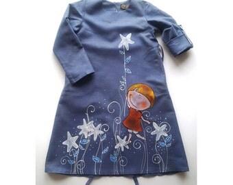 Flower Girls dress in gray-blue color-linen dress-painted dress-unit work- ON ORDER ONLY- children clothing - girl dress - blue dress