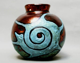 Vase Raku Pottery Seashells Ceramic Copper Pot Nautilus Art Collectibles Home Decor Seashell Copper Turquoise Crackle Vase 8x8x8 inches