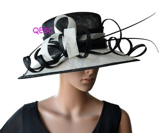 Ivory black sinamay hat church hat for Kentucky derby,wedding races Melburne cup