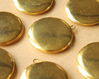 2 pc. Gold Round Lockets 32mm x 36mm | LOC-043
