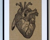 75% OFF SALE Anatomical Heart Art Print on Vintage Dictionary Page, Anatomy Heart Decor,  Illustration Poster, Anniversary Gift, Bedroom Art