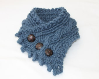 Fishermans Wife Cowl, Chunky Cowl, Cable Knit Cowl, Neck Warmer, Knitted Cowl, Wool Ease Thick and Quick Denim Blue Cowl,