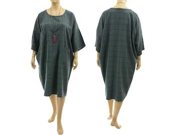 Oversized wool dress in blue-teal + 3 pockets, lagenlook blue wool dress plus size L-XXXL, US size 14-26, discount 70 USD - was 220 now 150