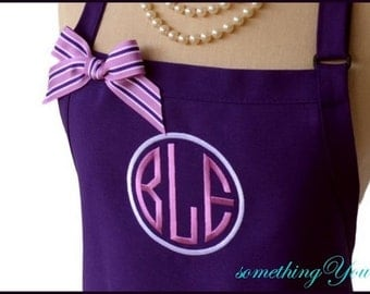 Dark Purple and Orchid Circle Monogrammed Apron - Personalized 2 Color Monogram Apron for Women, Lavender, Eggplant, Plum Circle Monogram