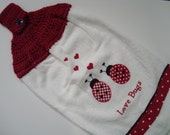 Tea Towel Valentines Day Love Bugs with Crocheted Hanging Topper