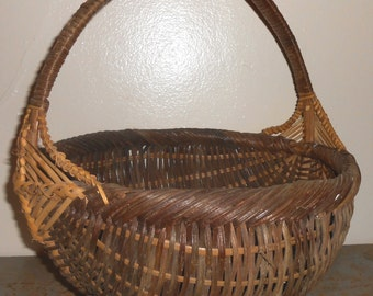 Vintage Wicker Basket, Brown, Woven, Large, Basket with Handle, Round, Gathering Basket, Craft Supplies, Craft Basket