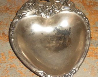 Vintage Candy Dish, Heart, Silver, Heart Dish, Floral, Roses, Tray, Silver Dish, Ornate