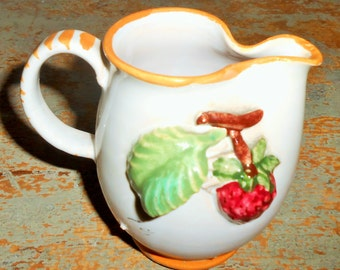 Vintage Creamer, Italian Pottery, Red Berry, Syrup Pitcher, Small, Raspberry, Strawberry,