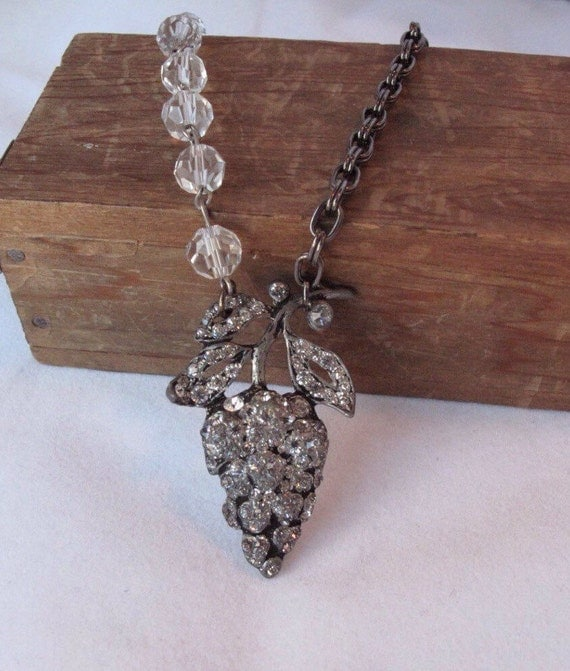 Repurposed Vintage Brooch Rhinestones & Crystals Flower Pendant Necklace Hemitite Antique Silver Chains Upcycled Floral Grape Cluster WishAn