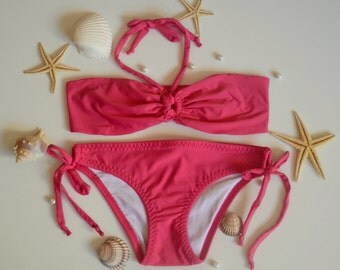 Baby girl swimsuit-Hot pink girls bandeau bikini set 2 pieces -Baby swimsuit -Children swimwear -Kids swimsuit -Bathing suit-XS-S-M-L-XL